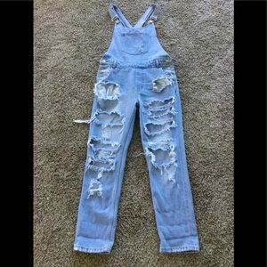 ZEE GEE WHY x FREE PEOPLE DISTRESSED OVERALLS S